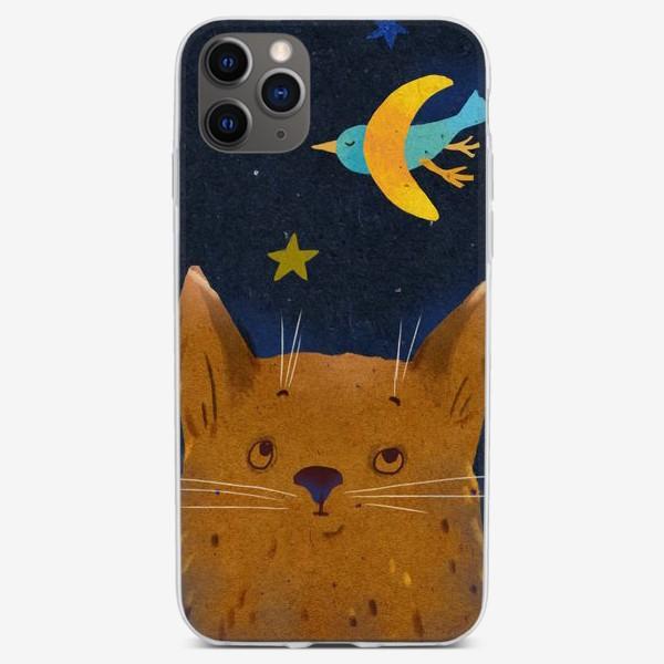 Чехол iPhone «Котенок ночью смотрит на птицу-месяц»
