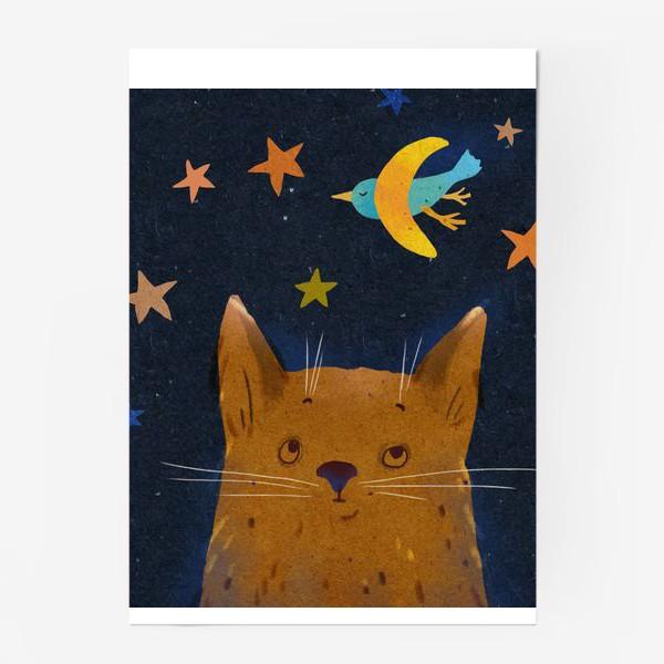 Постер «Котенок ночью смотрит на птицу-месяц»