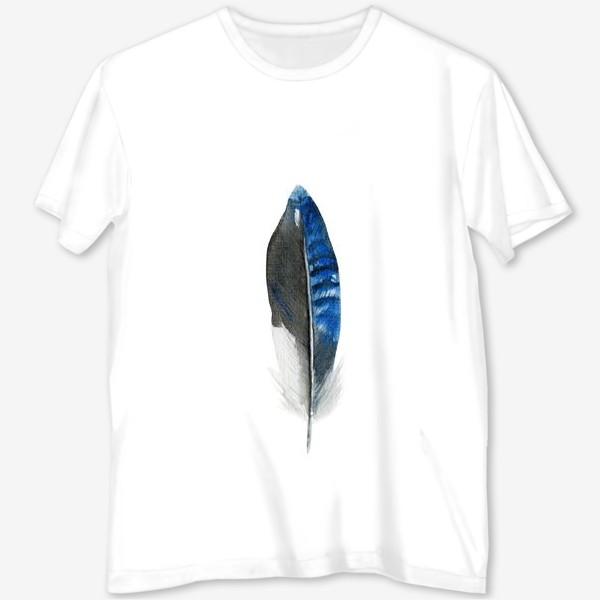 Футболка с полной запечаткой «Синее перо»