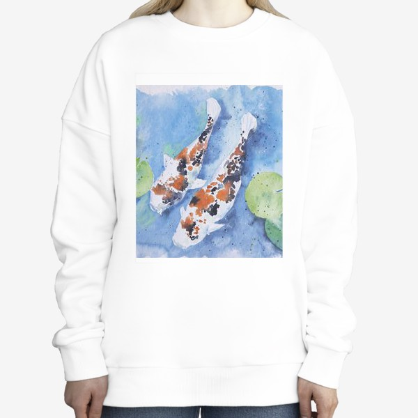 Свитшот «Рыбки карпы в озере»