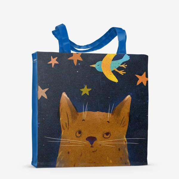 Сумка-шоппер «Котенок ночью смотрит на птицу-месяц»
