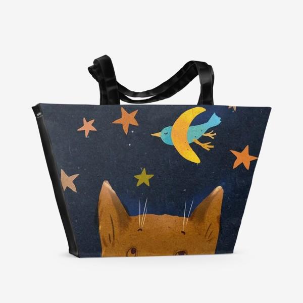 Пляжная сумка «Котенок ночью смотрит на птицу-месяц»