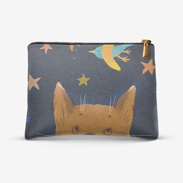 Косметичка «Котенок ночью смотрит на птицу-месяц»