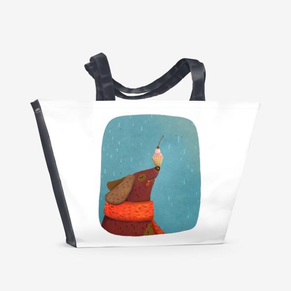 Пляжная сумка «Собака держит пирожное на носу»