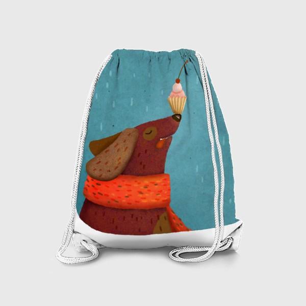 Рюкзак «Собака держит пирожное на носу»