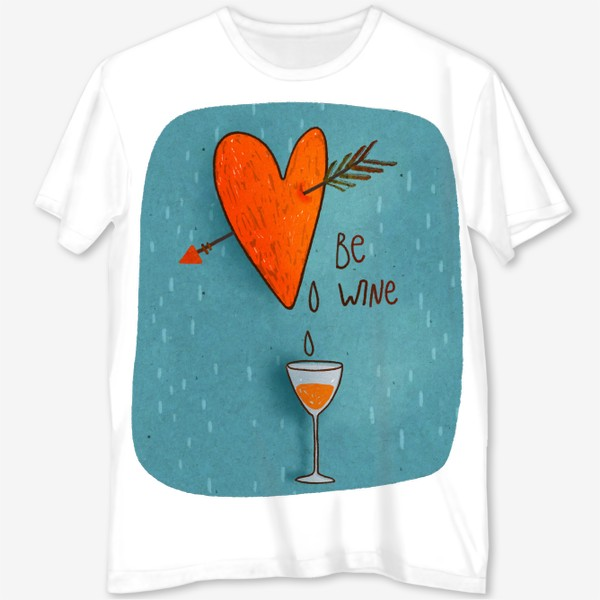 Футболка с полной запечаткой «Стрела пронзает сердце и льется вино. Леттеринг. День Св. Валентина»