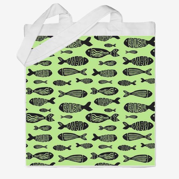 Сумка хб «Рыбы (черные на зеленом)»