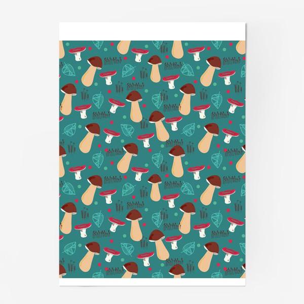 Постер «Лесной паттерн: грибы, листья, мох»