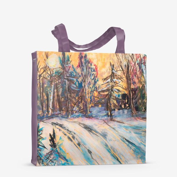 Сумка-шоппер «Зимний лес Закат Пейзаж Пастель»