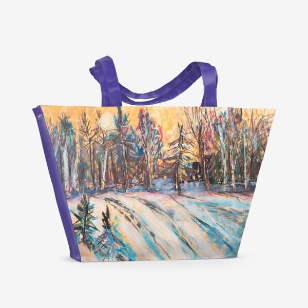 Пляжная сумка «Зимний лес Закат Пейзаж Пастель»