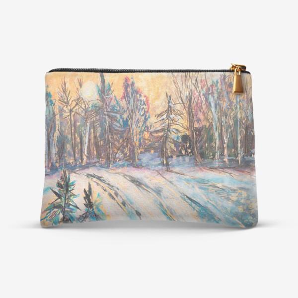 Косметичка «Зимний лес Закат Пейзаж Пастель»