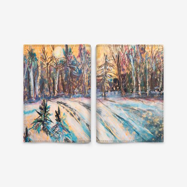 Обложка для паспорта «Зимний лес Закат Пейзаж Пастель»