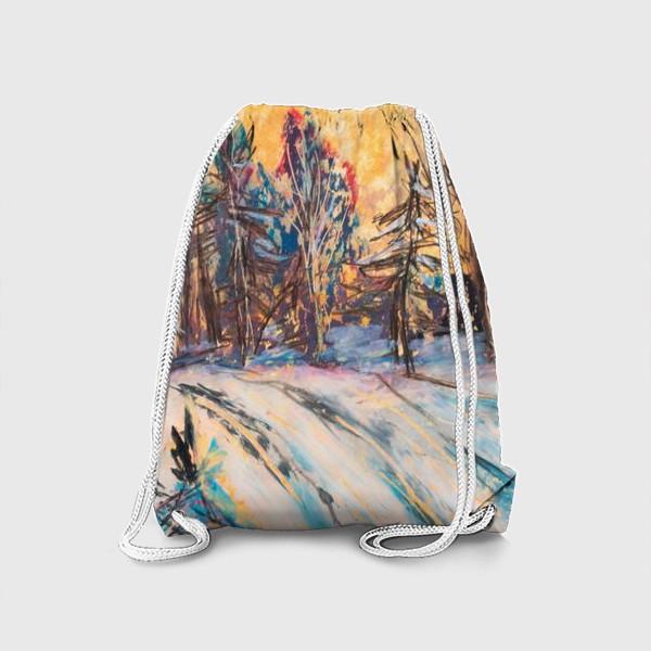 Рюкзак «Зимний лес Закат Пейзаж Пастель»