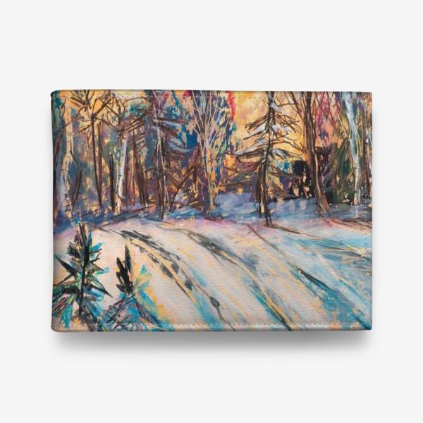 Кошелек «Зимний лес Закат Пейзаж Пастель»