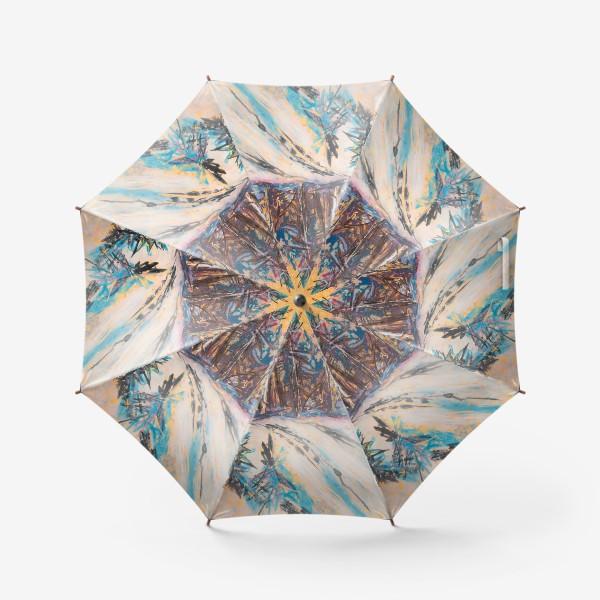 Зонт «Зимний лес Закат Пейзаж Пастель»