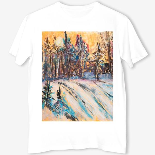 Футболка «Зимний лес Закат Пейзаж Пастель»