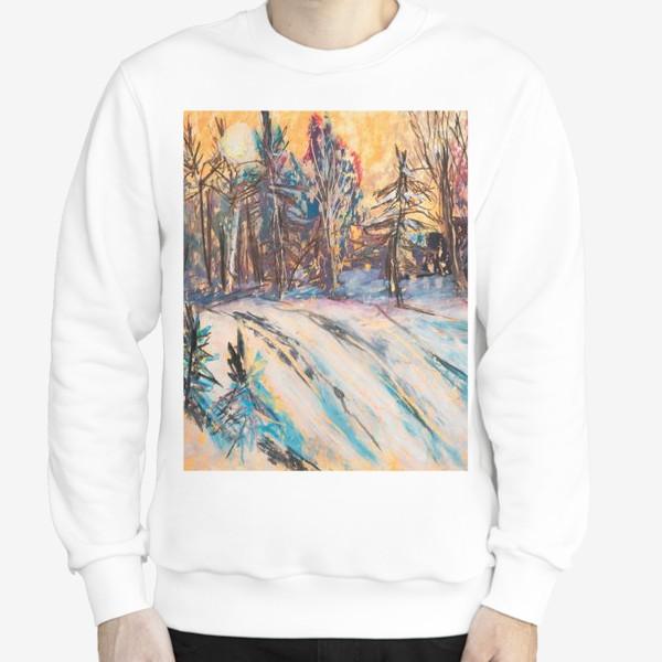 Свитшот «Зимний лес Закат Пейзаж Пастель»