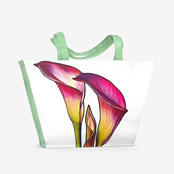 Пляжная сумка «Розовые каллы»