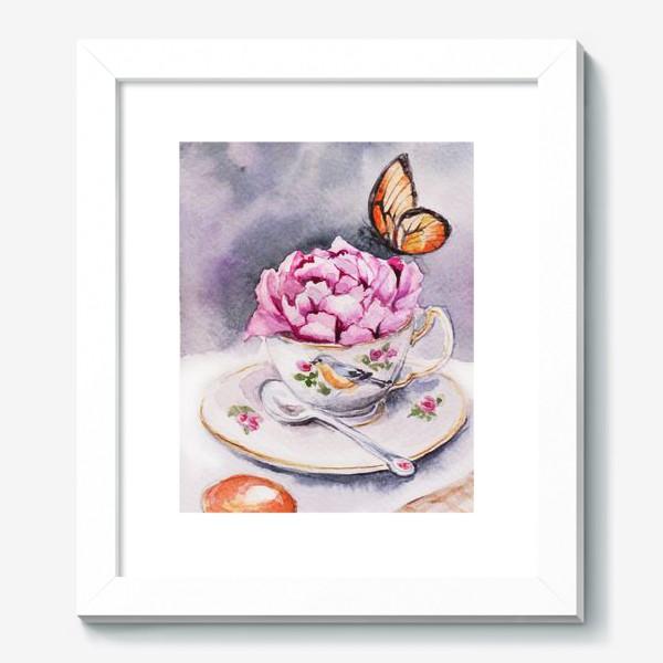 Картина «Утренний кофе с пионом и бабочкой»