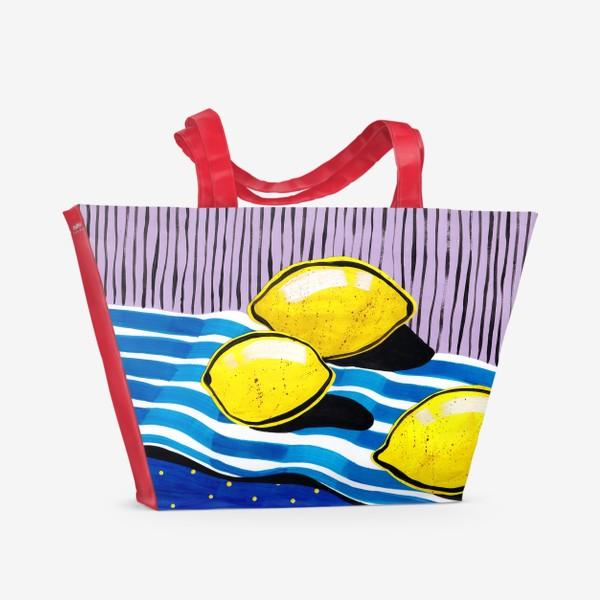 Пляжная сумка «Желтые лимоны»