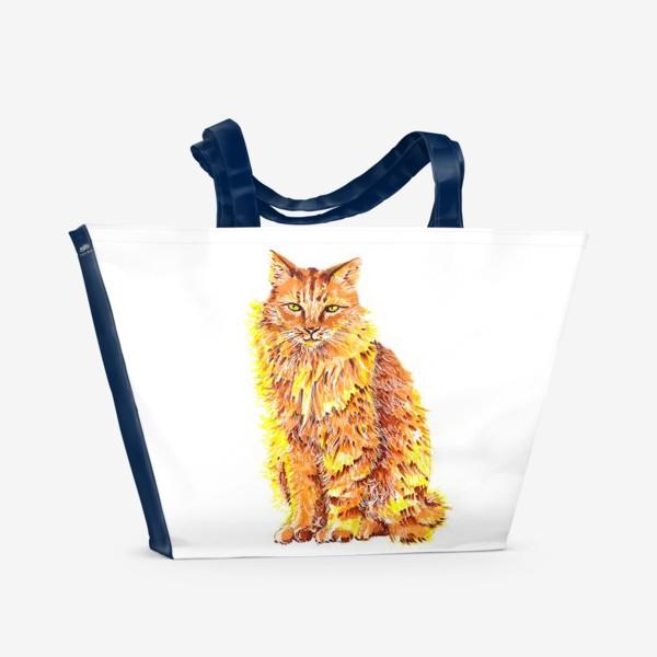 Пляжная сумка «Пушистый рыжий кот»