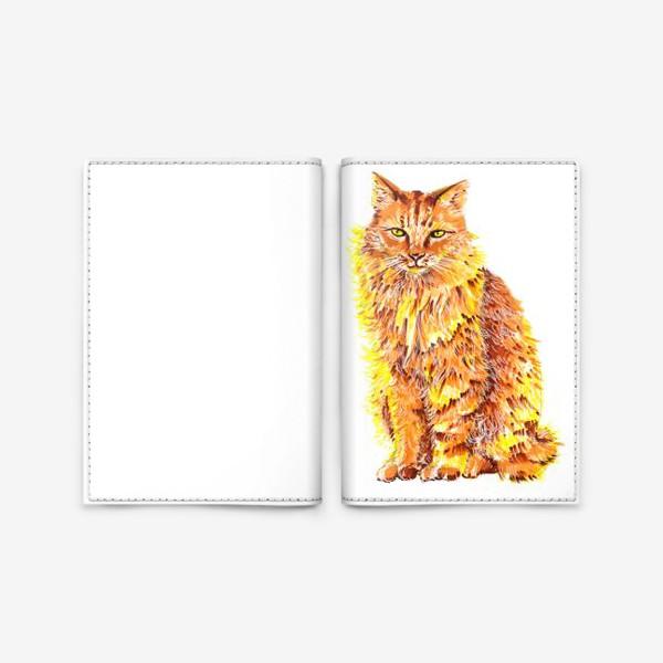 Обложка для паспорта «Пушистый рыжий кот»
