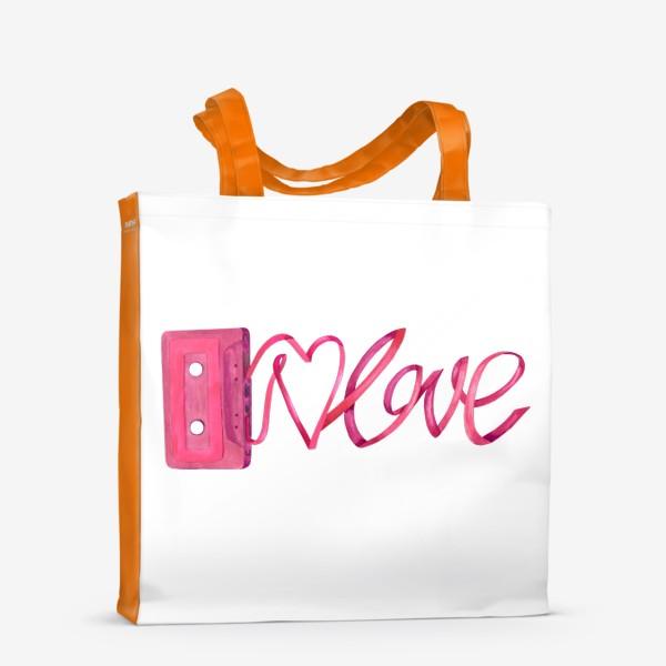 Сумка-шоппер «Розовая винтажная касета с надписью love и сердцем»
