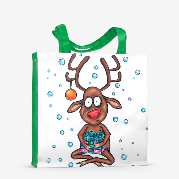 Сумка-шоппер «Олень с подарком»