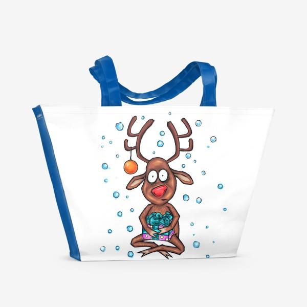 Пляжная сумка «Олень с подарком»