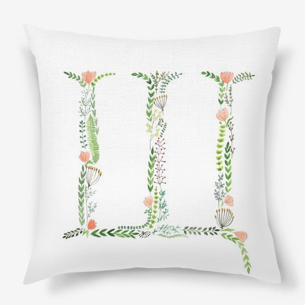 Подушка «Буква Щ из веточек, листиков, ягод и цветов.»
