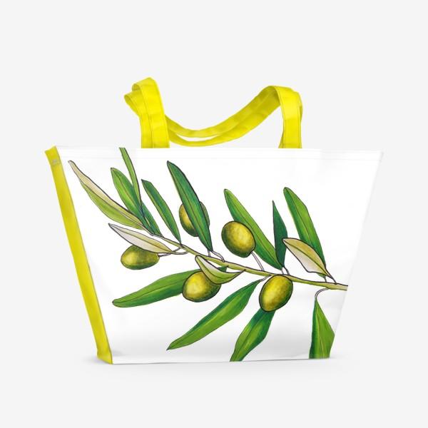 Пляжная сумка «Олива. Оливковая ветвь. Оливки»