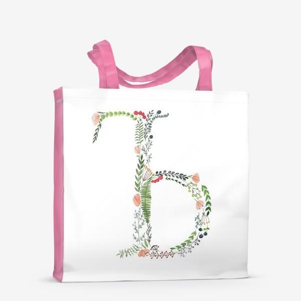 Сумка-шоппер «Буква Ъ из веточек, листиков, цветов и ягод.»