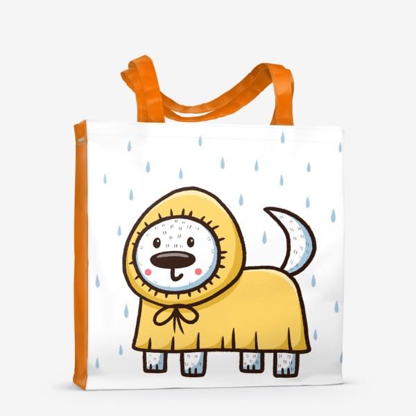 Сумка-шоппер «Милый щенок в дождевике»
