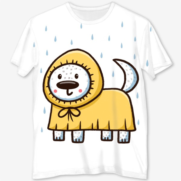 Футболка с полной запечаткой «Милый щенок в дождевике»
