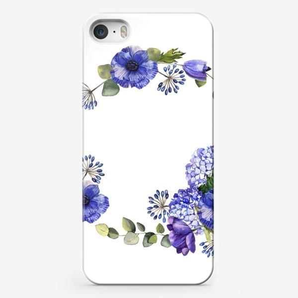 Чехол iPhone «Венок с синими цветами»