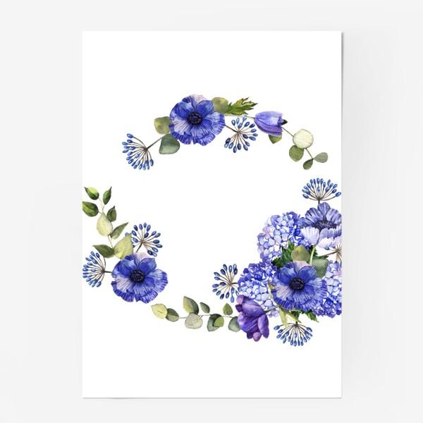 Постер «Венок с синими цветами»