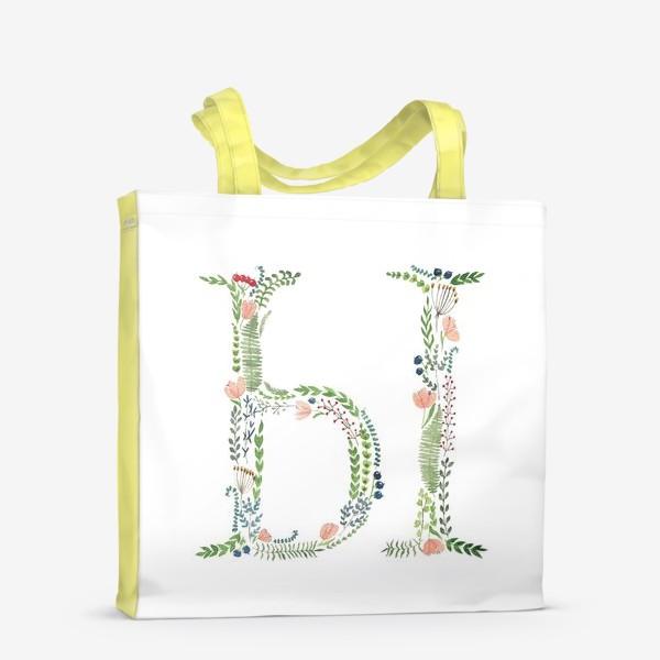 Сумка-шоппер «Буква Ы из веточек, листиков, ягод и цветов.»