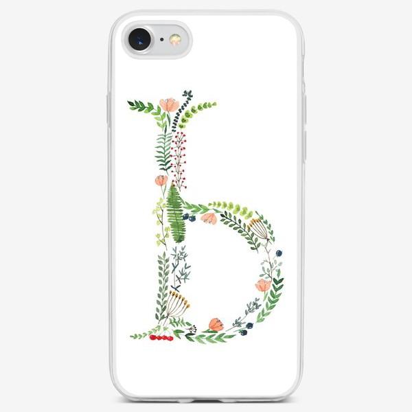 Чехол iPhone «Буква Ь из листиков, веточек, цветов и ягод.»