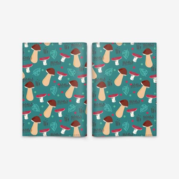 Обложка для паспорта «Лесной паттерн: грибы, листья, мох»