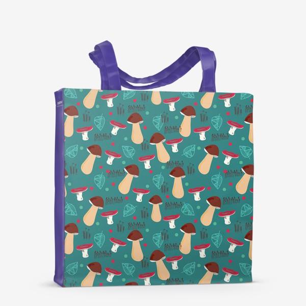 Сумка-шоппер «Лесной паттерн: грибы, листья, мох»