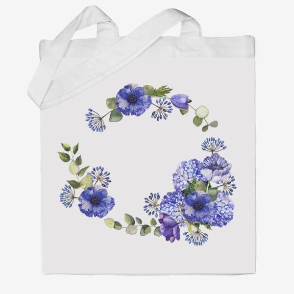 Сумка хб «Венок с синими цветами»