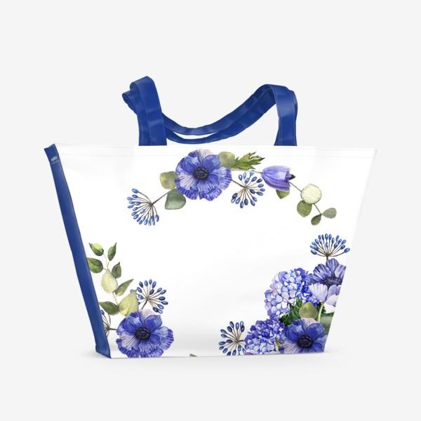 Пляжная сумка «Венок с синими цветами»