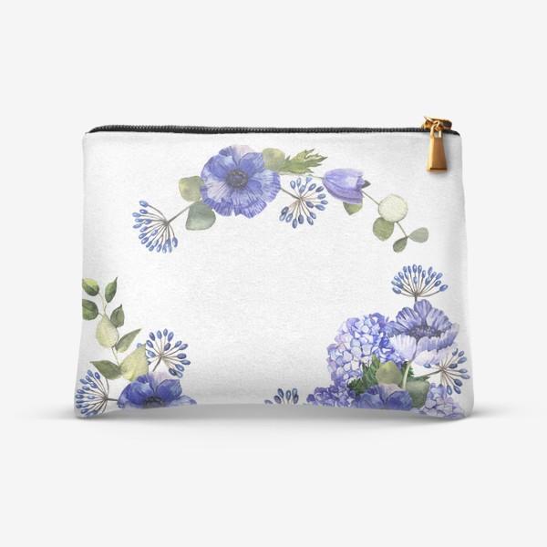 Косметичка «Венок с синими цветами»