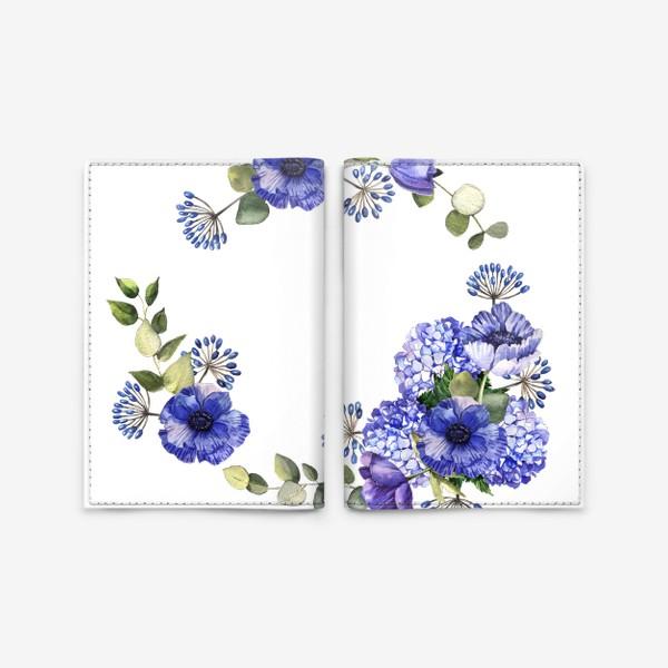 Обложка для паспорта «Венок с синими цветами»