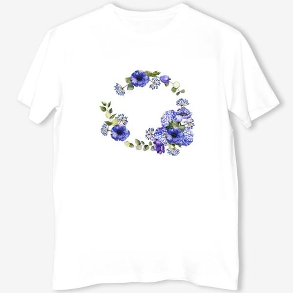 Футболка «Венок с синими цветами»