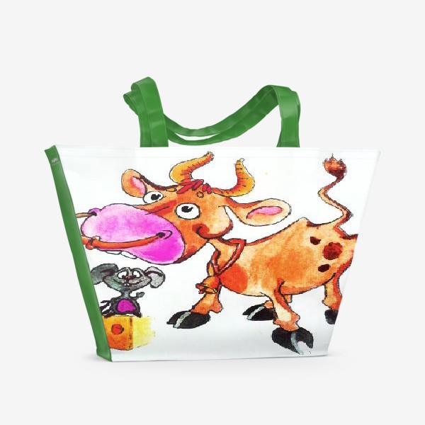 Пляжная сумка «Бычок и Мышонок»