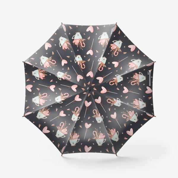 Зонт «Милый паттерн с сердцами, леденцом, чашкой ко Дню Святого Валентина»