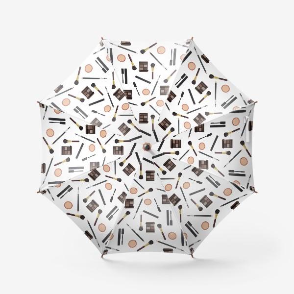 Зонт «Паттерн из предметов косметики на прозрачном фоне_2»