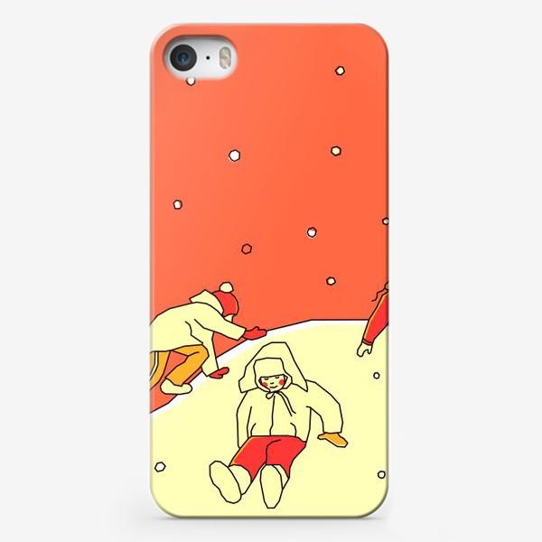 Чехол iPhone «Зимние забавы. Царь горы. День. Детская иллюстрация.»