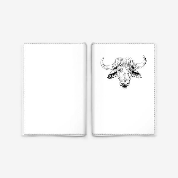 Обложка для паспорта «Голова буйвола, нарисованная руками, графика»
